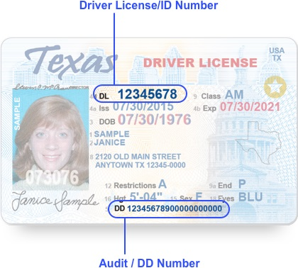 Login driver license renewal and address change texas use the example texas driver licenseid cards to locate the required information sciox Choice Image